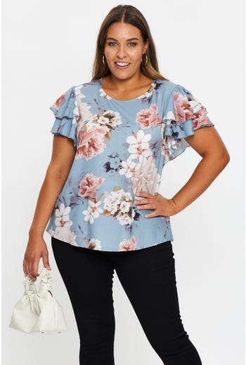 Plus Short Sleeve Floral Print Top