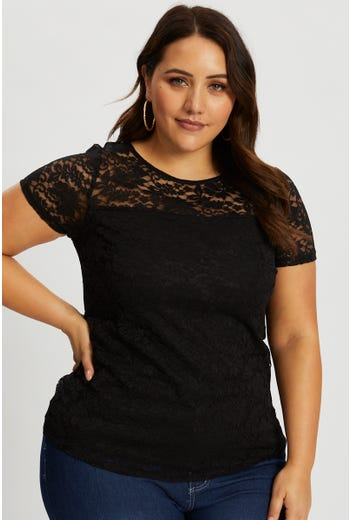 Plus Lace Short Sleeve Shell Top
