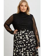Plus Lace Long Sleeve Top