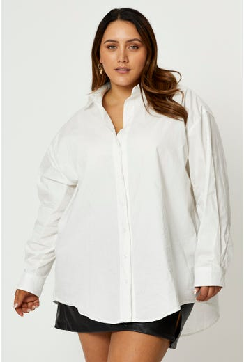 Plus Long Sleeve Loose Fit White Shirt
