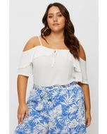 Plus Short Sleeve Ruffle Cold Shoulder Top