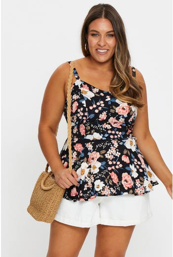 Plus Floral Print Sleeveless  Peplum Top