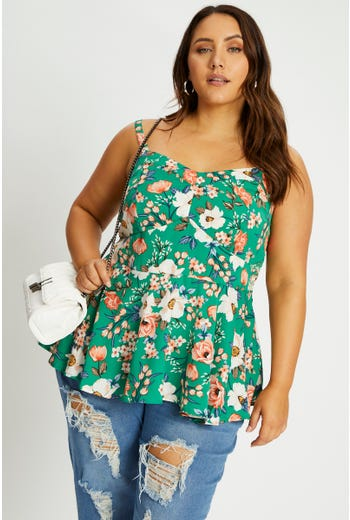 Plus Sleeveless Floral Print Soft Peplum Top