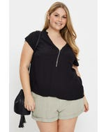 Plus Extended Sleeve Zip Front Shell Top