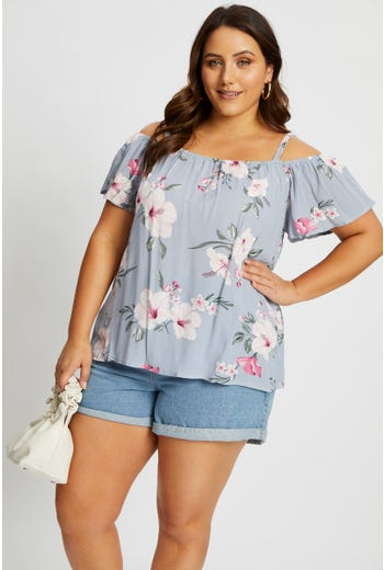 Plus Short Sleeve Floral Print Ruffle Cheesecloth