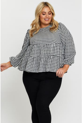 Plus Long Sleeve Check Tiered Top