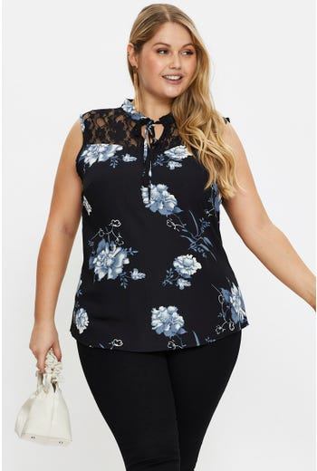 Plus Floral Print Lace Panel Top