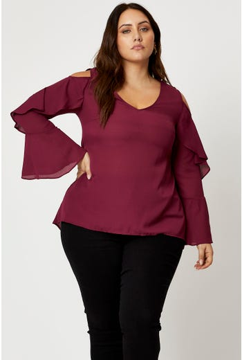 Plus Cold Shoulder Ruffle Sleeve Top