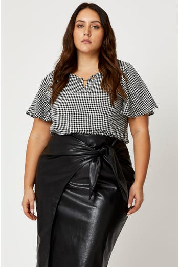 Plus Hardware Detail Bell Sleeve Blouse Top