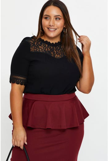 Plus Lace Panel Frill Detail Top