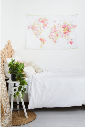 Floral World Map Tapestry