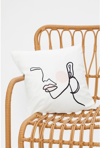 Line Drawing Floral Cushion Cover